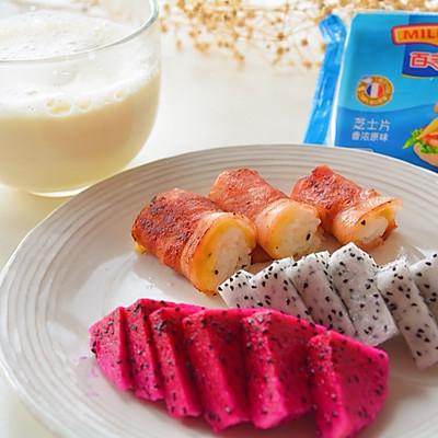 营养快手早餐-培根芝士饭卷