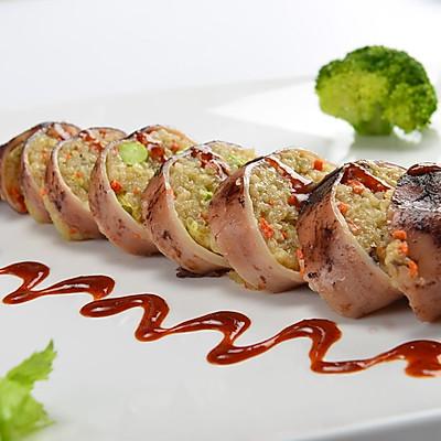 美味的台湾小吃鱿鱼包饭