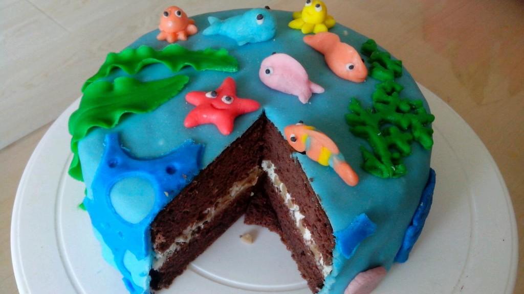 海底世界翻糖巧克力蛋糕