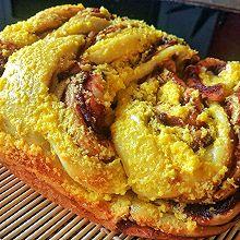 #换着花样吃早餐#面包机版豆沙椰蓉面包