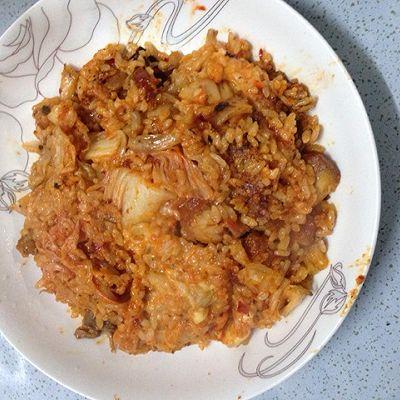 辣白菜鸡排饭的做法 步骤3