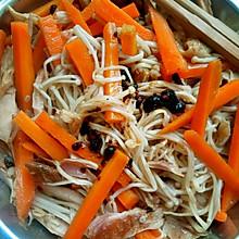减肥餐之凉拌金针菇胡萝卜鸡肉丝