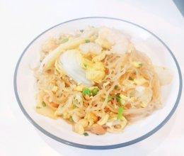 #憋在家里吃什么#懒人版3分钟快手娃娃菜虾仁蛋炒魔芋丝的做法