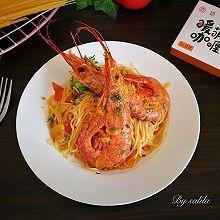阿根廷红虾咖喱意面#安记咖喱快手菜#