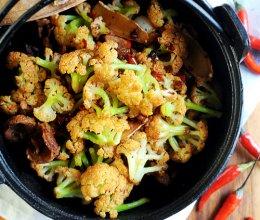 豆果独家:腊味干锅菜花的做法