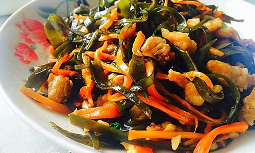 海带丝胡萝卜丝炒肉的做法
