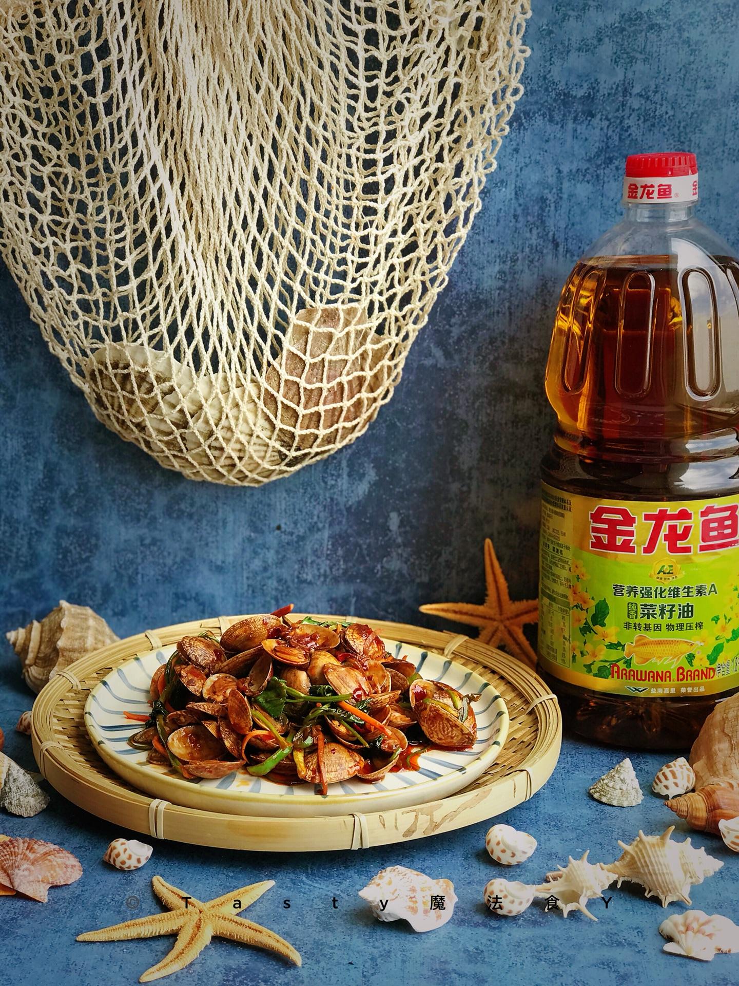 姜䲹a�_香辣葱姜爆炒花甲#金龙鱼营养强化维生素a 新派菜油