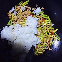 蒜苔肉丝炒饭的做法图解2