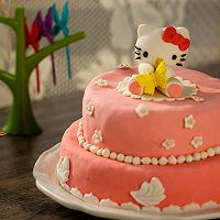 HOLLETKITY粉色双层翻糖蛋糕#九阳烘焙剧场#的做法图解53
