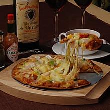 海鲜番茄薄脆披萨
