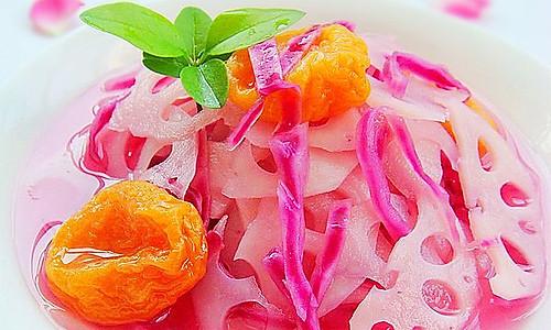 紫甘蓝话梅糖渍藕片的做法