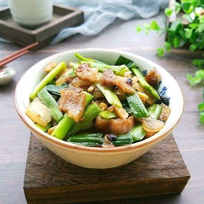 家常菜~蒜苗豆豉五花肉