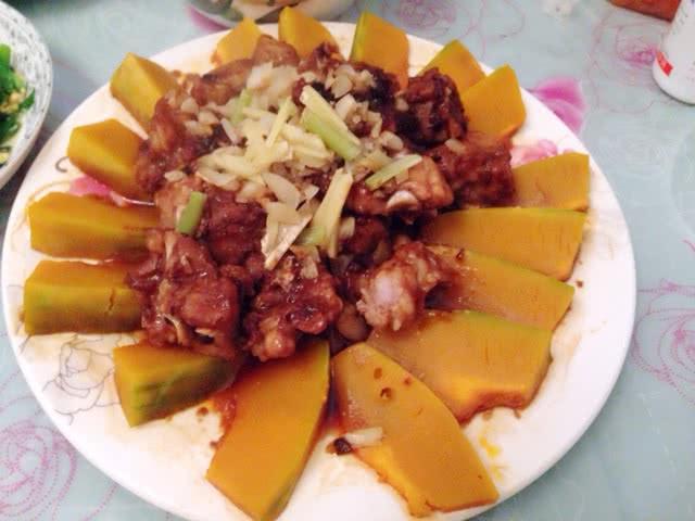 韭菜蒸做法的肥牛南瓜孜然炒排骨图片