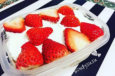 草莓奶油盒子蛋糕(无油蛋糕底)