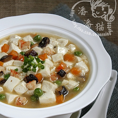 虾仁五彩豆腐羹