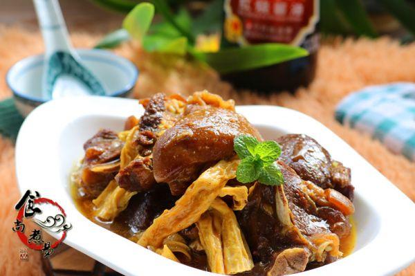 咖喱羊肉焖腐竹的做法