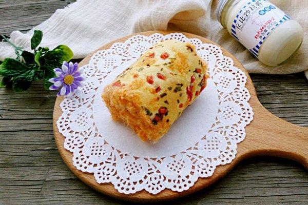 肉松蛋糕香葱卷#丘比轻食做法v肉松#的厨艺_【拖毛豆机图片