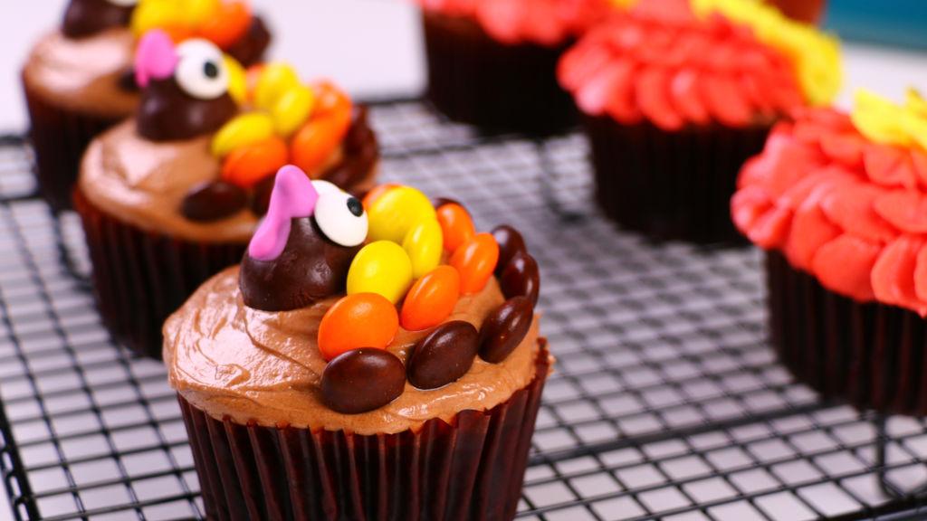 超级可爱的火鸡cupcake,巧克力纸杯蛋糕