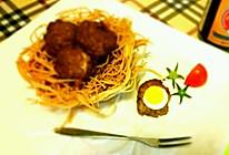 肉包蛋配黑椒鸟巢的做法