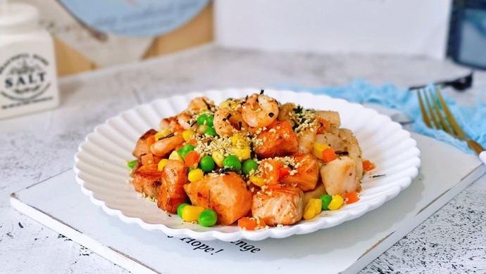 山葵木鱼花三文鱼沙拉#花10分钟,做一道菜!#