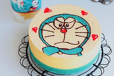 一次烘烤:蓝胖子手绘戚风蛋糕