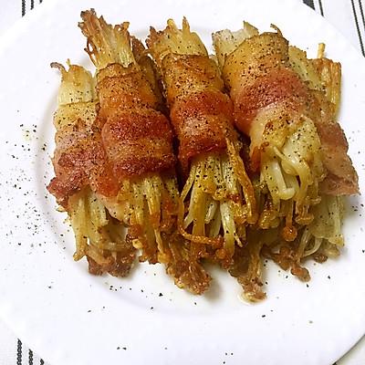 简单快手菜-培根金针菇卷