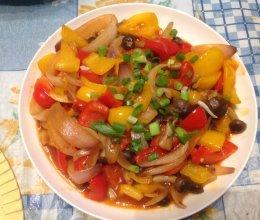五彩椒炒蘑菇的做法