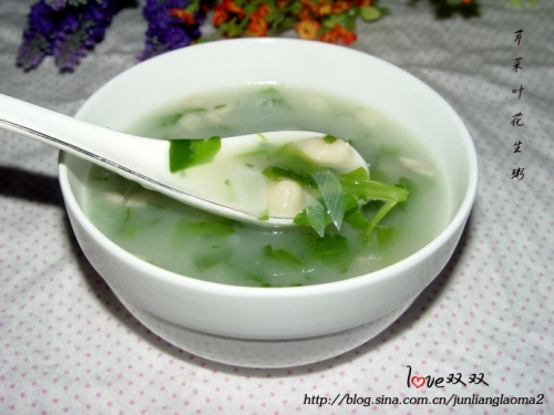 芹菜叶花生米粥的做法