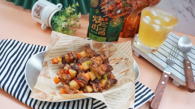 #烤究美味 灵魂就酱#牛腩菌菇杂蔬烤串的做法