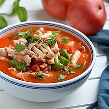 #母亲节,给妈妈做道菜# 番茄蘑菇肉片汤
