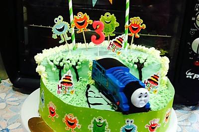 托马斯场景蛋糕裱花