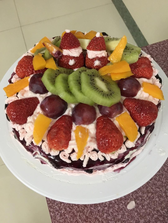 蓝莓酱水果蛋糕#豆果5周年图片