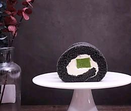 竹炭抹茶奶冻蛋糕卷的做法