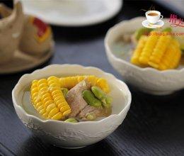 玉米蚕豆排骨汤的做法