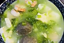小花儿营养系列----虾仁鱼丸豆腐蛋黄儿汤的做法