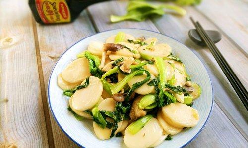 菌菇青菜炒年糕#美食美刻,乐享美极#的做法