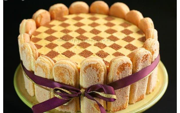 芒果棋格慕斯蛋糕