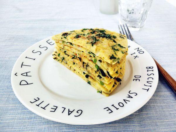 茼蒿米饭鸡蛋饼的做法