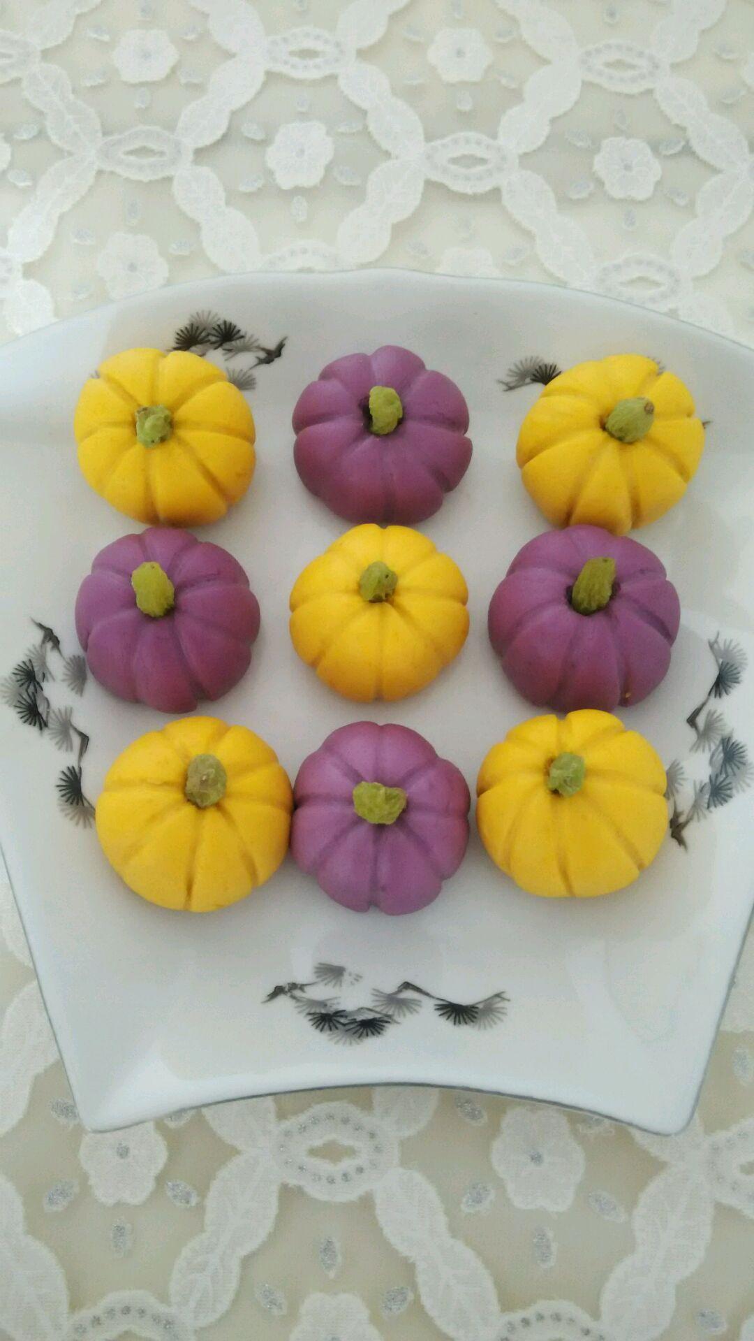 爱仕达寻找面点女王#紫薯,南瓜做的南瓜饼的做法图解7