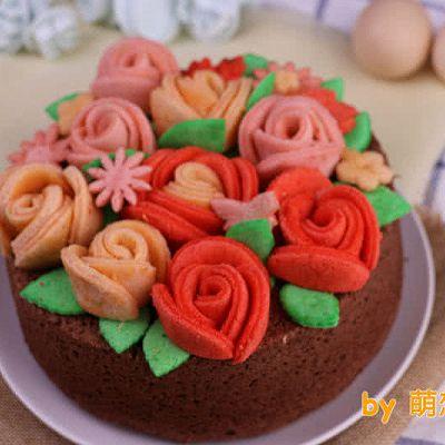 纯戚风蛋糕装饰之——玫瑰花巧克力戚风蛋糕