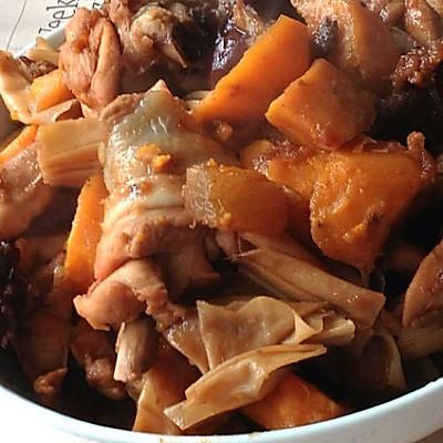 秋冬养生菜--红薯豆筋炖鸡