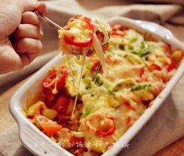 #九阳烘焙剧场#烤箱试用 番茄鸡肉浓情焗饭的做法