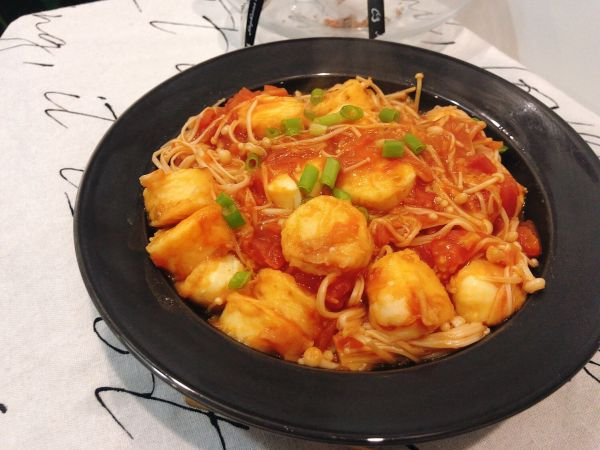 番茄金针菇烧日本豆腐!超下饭!的做法