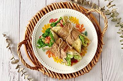 快手午餐肉蔬菜卷餅