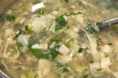 荠菜干贝豆腐羹