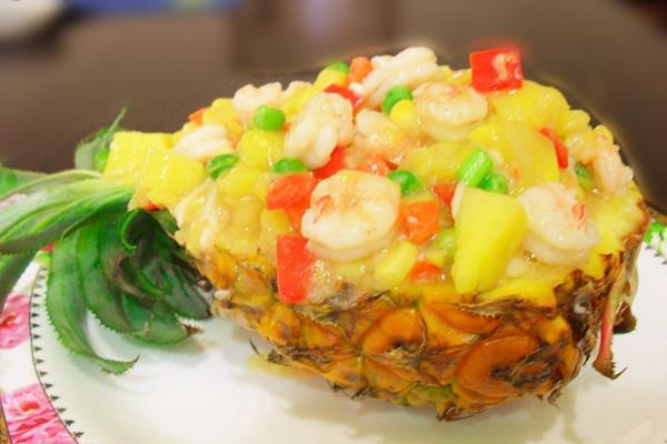 青豆虾仁菠萝盅的做法