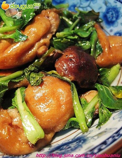 小油菜烩香茹面筋的做法