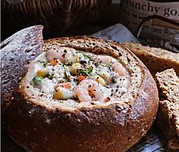 INS上超火的紫米海鲜面包碗的做法