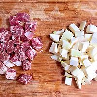 #花10分钟,做一道菜!#茭白牛排粒的做法图解1