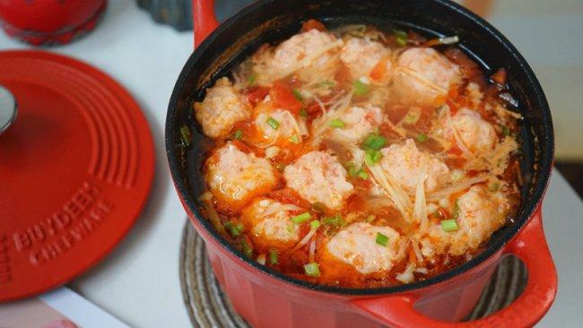番茄酸汤虾滑的做法